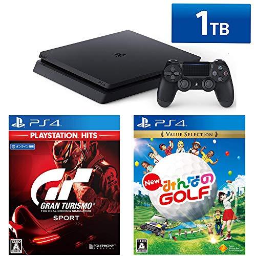 PlayStation 4 + グランツーリスモSPORT + New みんなのGOLF セット (ジェット・ブラック) (HDD容量:1TB CUH-2200BB01)