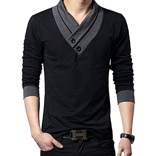 (メイク トゥ ビー) Make 2 Be スリム Vネック 長袖 Tシャツ スカーフ風 カジュアル シャツ MF01 (50.長袖 Black M)