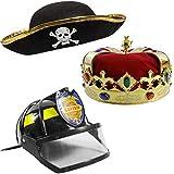 [ファニーパーティーハット]Funny Party Hats Children Hat Bundle1 Kings Crown,1 Felt Paret Hat,1 Fireman Captain Helmet and Visor [並行輸入品]