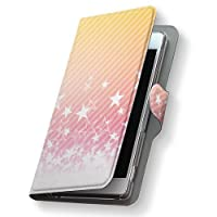 AQUOS PHONE EX SH-02F ケース カバー 手帳型 スマコレ レザー 手帳タイプ 革 SH02F スマホケース スマホカバー AQUOS PHONE EX アクオスフォン ラブリー 008387 Sharp シャープ docomo ドコモ ピンク 星 スター 模様 sh02f-008387-nb