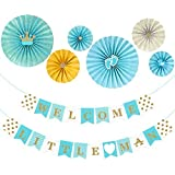 UNOMOR Baby Shower Decorations for Boys Including  WELCOME LITTLE MAN   Banner and 6 Paper Fans(Blue) [並行輸入品]