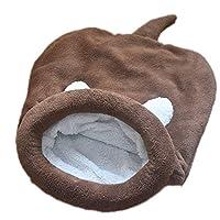 (サンワールド)Sunworld ペット用 猫用 あったか 寝袋 クッション ポケット もこもこ ふんわり マット 小型犬 ペットベッド ドーム型 秋冬 洗える 保温防寒 暖かい休憩所(コーヒー、L)