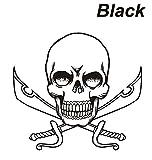 ノーブランド 黒 ドクロ&剣 ステッカー スカル ガイコツ 骸骨 頭骨 スケルトン シール