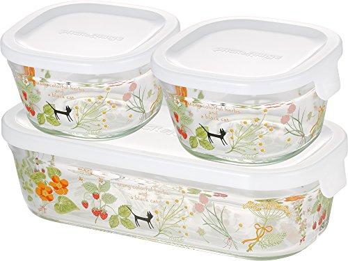 iwaki(イワキ) 耐熱ガラス 保存容器 3点セット (シンジカトウ/colorful herbs) パック&レンジ PS-PRNSNB3