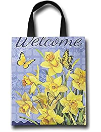 WACRDG Shopping Handle Bags,Welcome Colorful Flowers Personalized Tote Bag