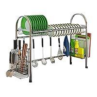 格納式304ステンレス鋼製食器棚排水棚シンクユニバーサルプールフレームキッチン棚 (Size : 100cm x 28cm x 63cm)