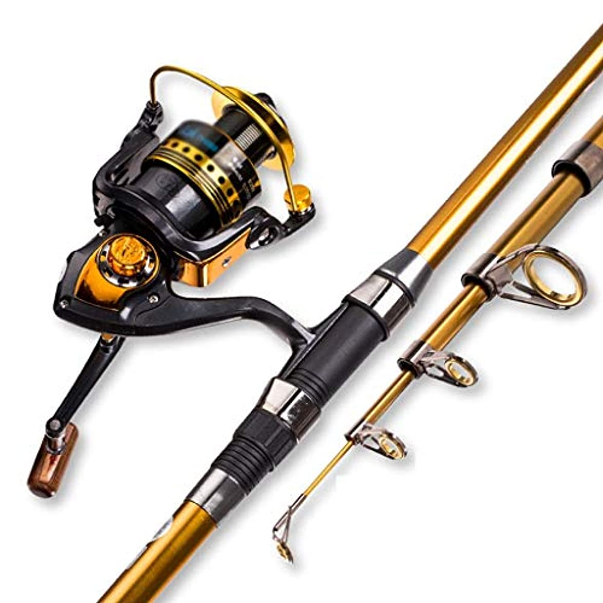 傑出した地殻説教する釣り竿海釣り竿セット釣りアクセサリー、初心者の引き込み式の釣り竿とリールの組み合わせスピニング釣りリール釣りタックル(色:マルチカラー、サイズ:2.4)