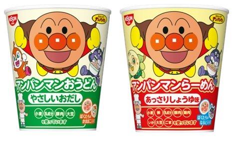 キャラクターカップめん 2種類 各7〜8食入り 1箱:15食入り (アンパンマンらーめん しょうゆ味・アンパンマンおうどん