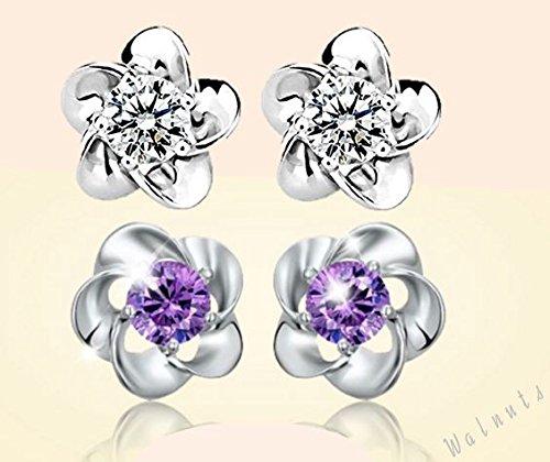 【ELEEJE】 レディース 人気 可愛い ☆ flower ピアス ( 収納BOX、お手入れ用クロス、プレゼント 用袋付き セット ) Silver&Purple2色セット