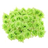 【ノーブランド 品】シルク ローズ 人工 リーフ 花 ヘッド 造花 結婚式 ホーム パーティー 装飾 7色選べる - グリーン