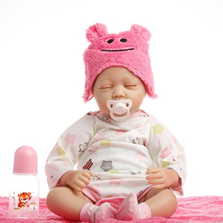 NPK collection Rebornベビー人形Realistic Baby dollsvinylシリコン赤ちゃん22インチ55 cm人形Newborn Realベビー人形Life Like Rebornおしゃぶりピンク人形Close Eyes Sleep Baby