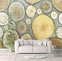 Jason Ming 北欧スタイルアート壁画壁紙3D立体ウッド穀物年輪ファッション背景装飾壁絵画-400X280Cm