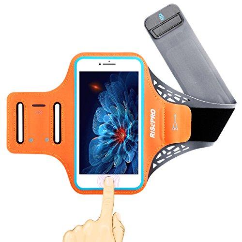 iPhone 7 plus アームバンド RISEPRO ランニングアームバンド 指紋ロック解除可能 5.5インチ大画面スマホに最適 キーホルダー/ミニ収納ポケット付 オレンジ