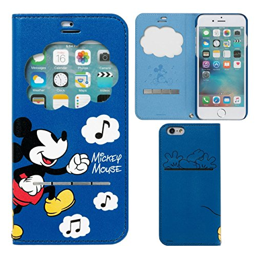 iPhone6s iPhone6 ケース 手帳型 ディズニー 窓付き キャラクター カバー カード収納 / ミッキー