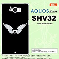 SHV32 スマホケース AQUOS SERIE SHV32 カバー アクオス セリエ 翼(ハート) 白×黒 nk-shv32-474