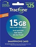 TracFone (スマートフォンのみ) 空中プリペイドサービスカード - メールデリバリー - 1.5GBデータ / 1500分 / 1500テキスト 1500 Minutes / 1500 Texts / 1.5GB Data, 365 days
