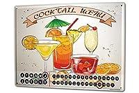 カレンダー Perpetual Calendar Bar Party Cocktail menu Tin Metal Magnetic