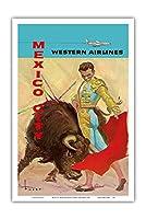 メキシコシティ - 闘牛マタドール - ウェスタン航空 - ビンテージな航空会社のポスター によって作成された ホセ・マリア・チューサー・バスケス c.1960s - アートポスター - 31cm x 46cm