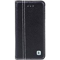 Rovski iPhone6/6s ケース 手帳型 本革 カバー カードポケット スタンド機能 マグネット式 財布型カバー【ブラック】