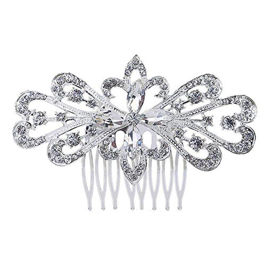 確実手入れ素晴らしさ髪の櫛の櫛の櫛の花嫁の髪の櫛の花の髪の櫛のラインストーンの挿入物の櫛の合金の帽子の結婚式のアクセサリー