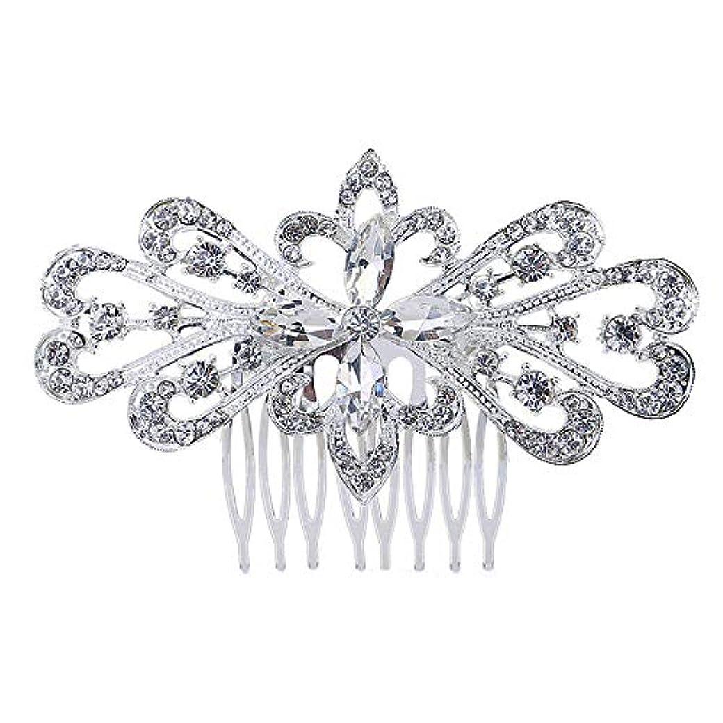 排泄する欠かせないシェフ髪の櫛の櫛の櫛の花嫁の髪の櫛の花の髪の櫛のラインストーンの挿入物の櫛の合金の帽子の結婚式のアクセサリー