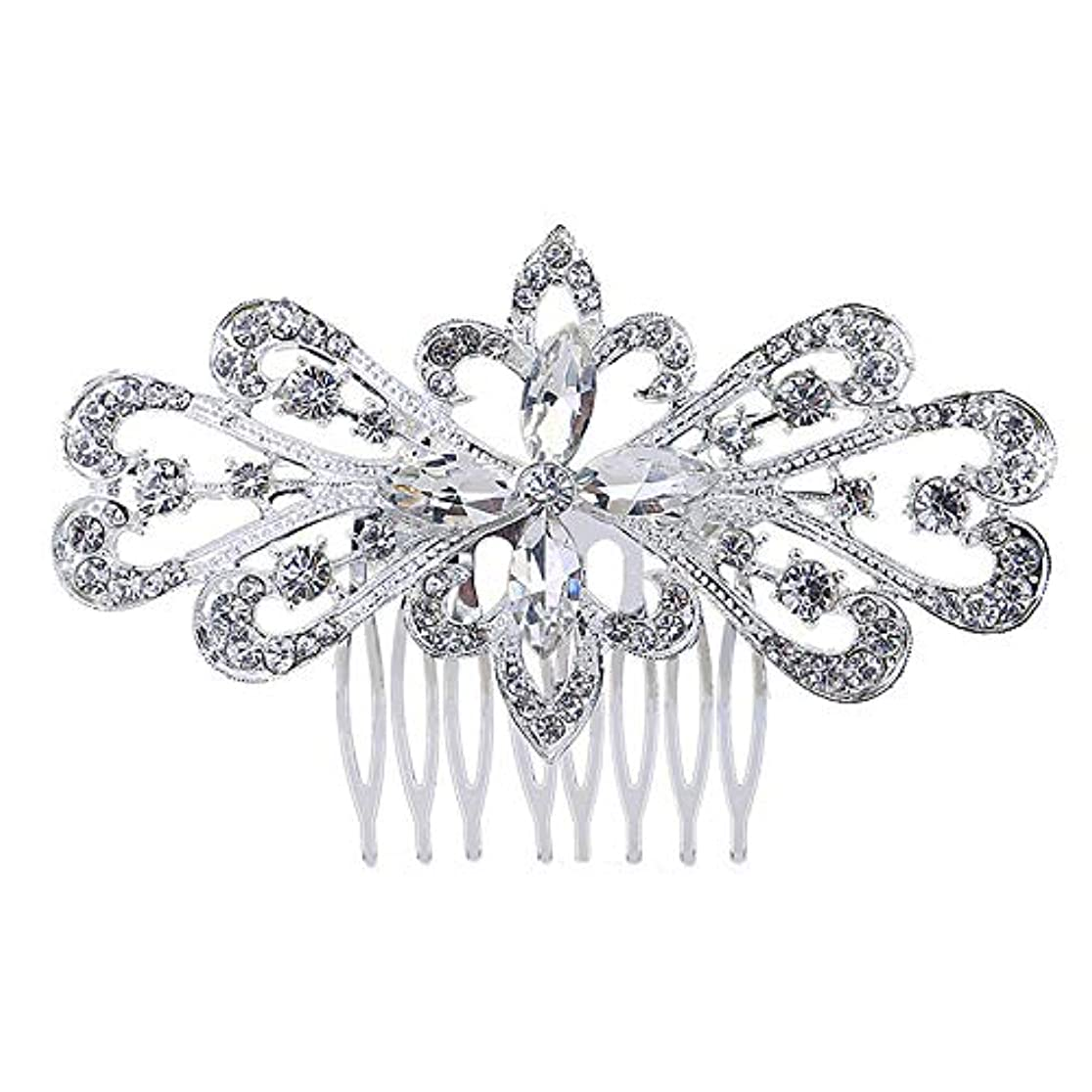 ピンチイヤホンハイランド髪の櫛の櫛の櫛の花嫁の髪の櫛の花の髪の櫛のラインストーンの挿入物の櫛の合金の帽子の結婚式のアクセサリー