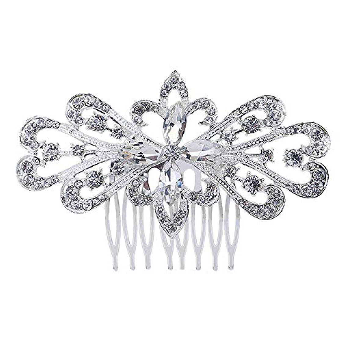 モナリザ支援褒賞髪の櫛の櫛の櫛の花嫁の髪の櫛の花の髪の櫛のラインストーンの挿入物の櫛の合金の帽子の結婚式のアクセサリー