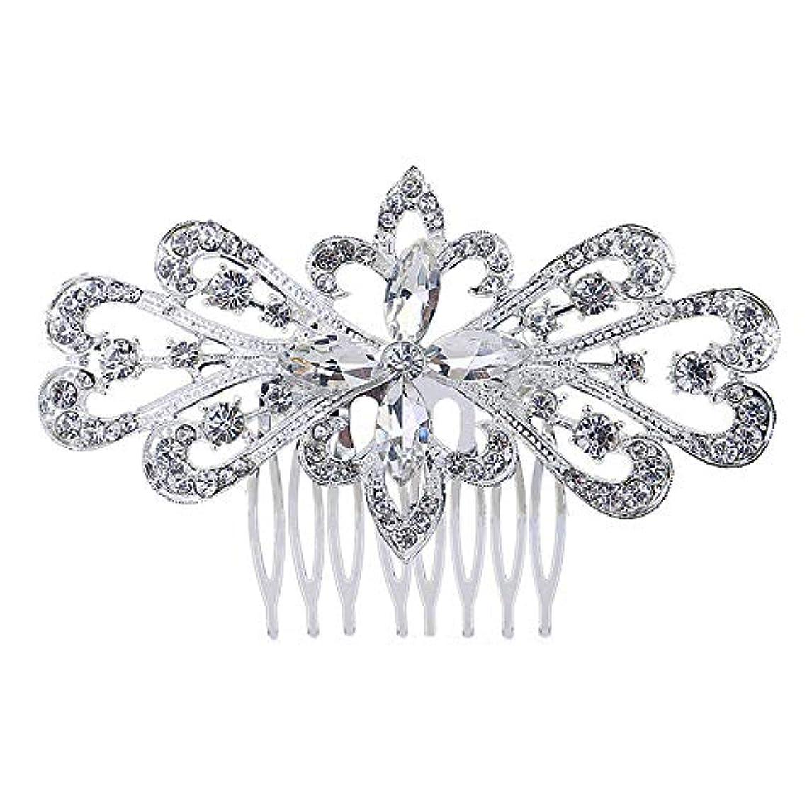 部族直径使役髪の櫛の櫛の櫛の花嫁の髪の櫛の花の髪の櫛のラインストーンの挿入物の櫛の合金の帽子の結婚式のアクセサリー