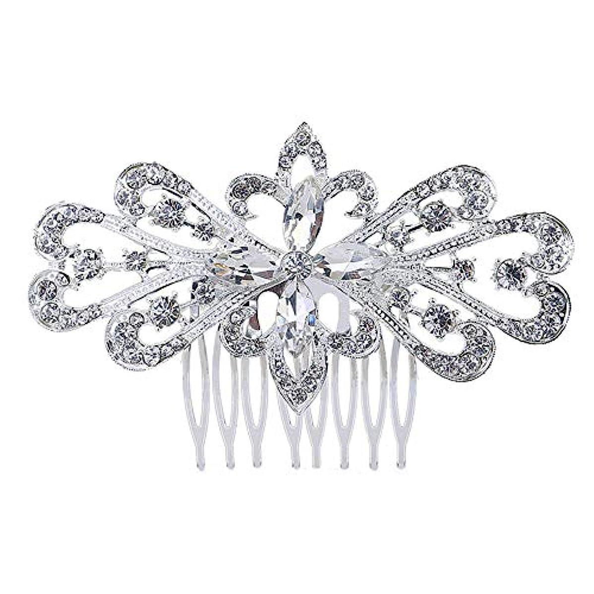 シャーロットブロンテおっとジョグ髪の櫛の櫛の櫛の花嫁の髪の櫛の花の髪の櫛のラインストーンの挿入物の櫛の合金の帽子の結婚式のアクセサリー