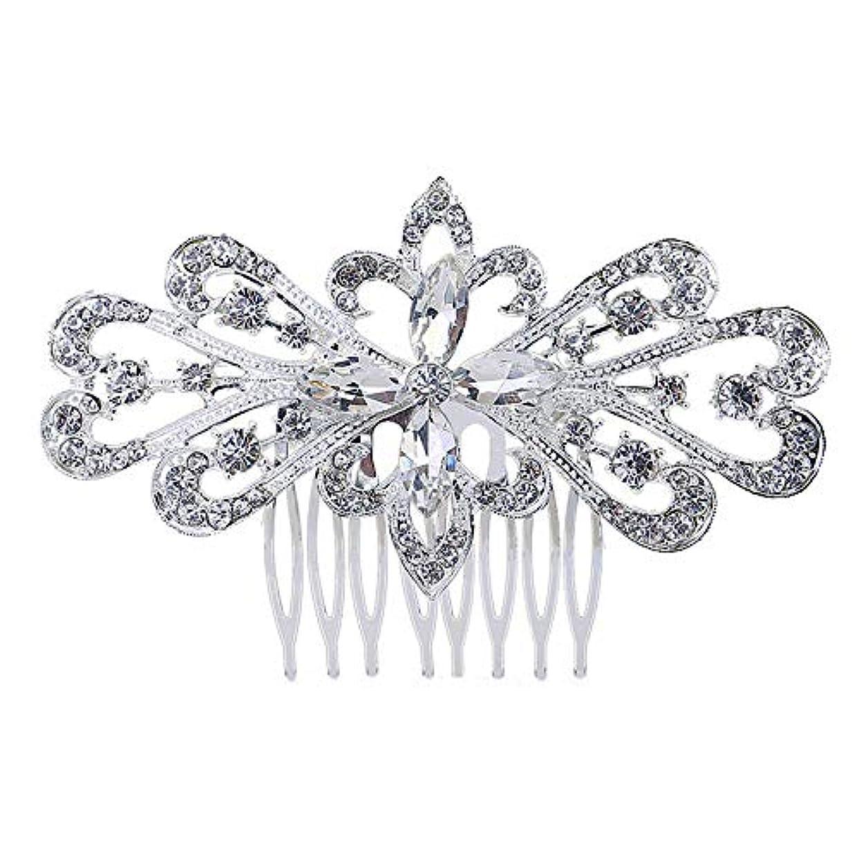 判定松明ビルダー髪の櫛の櫛の櫛の花嫁の髪の櫛の花の髪の櫛のラインストーンの挿入物の櫛の合金の帽子の結婚式のアクセサリー