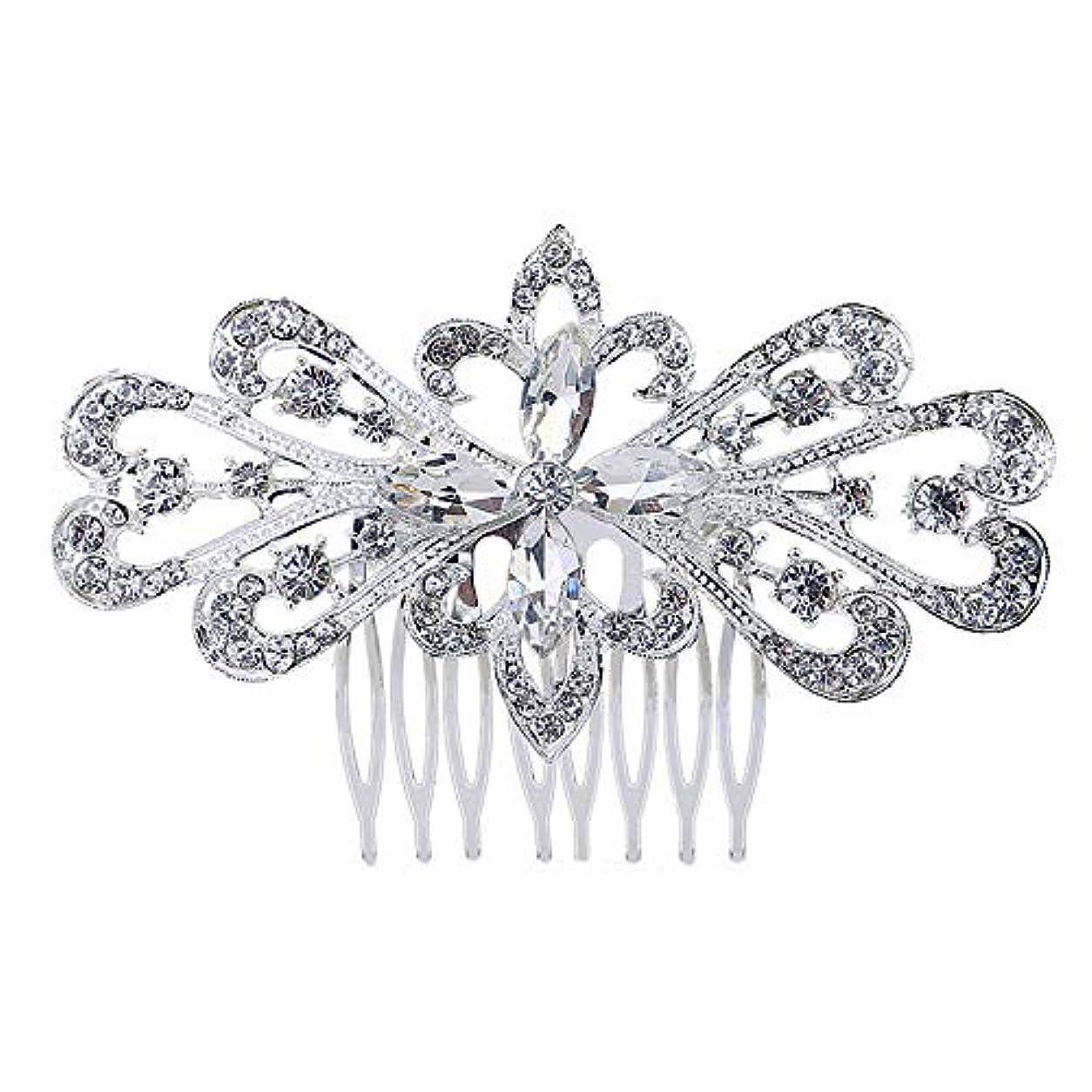 はいかすかなヘルシー髪の櫛の櫛の櫛の花嫁の髪の櫛の花の髪の櫛のラインストーンの挿入物の櫛の合金の帽子の結婚式のアクセサリー