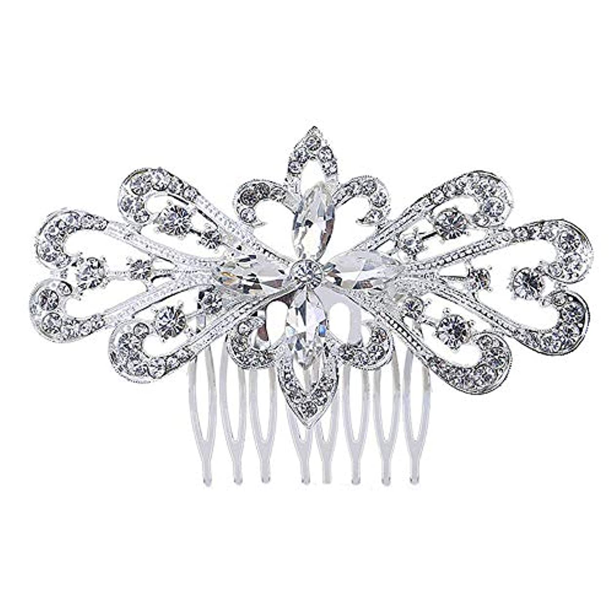 嫌悪すり結び目髪の櫛の櫛の櫛の花嫁の髪の櫛の花の髪の櫛のラインストーンの挿入物の櫛の合金の帽子の結婚式のアクセサリー