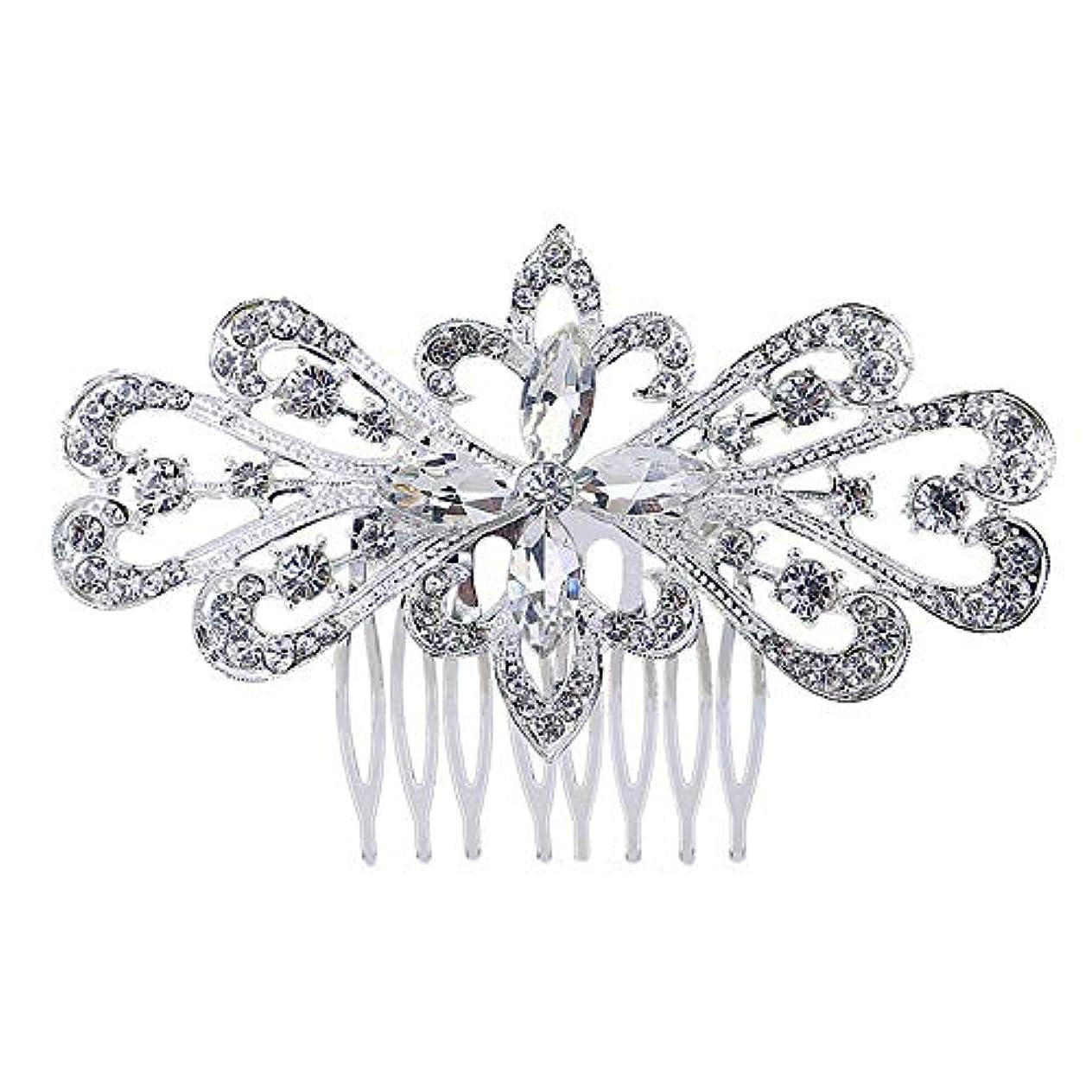 合計建築作物髪の櫛の櫛の櫛の花嫁の髪の櫛の花の髪の櫛のラインストーンの挿入物の櫛の合金の帽子の結婚式のアクセサリー