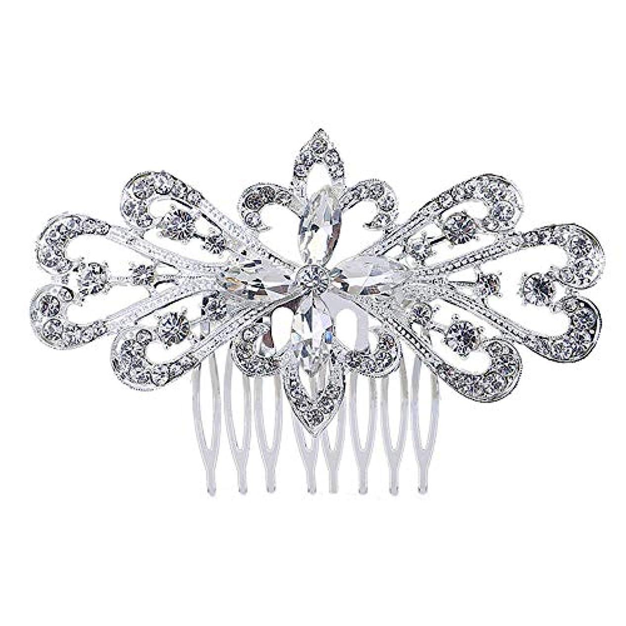 化学者銛ギャラントリー髪の櫛の櫛の櫛の花嫁の髪の櫛の花の髪の櫛のラインストーンの挿入物の櫛の合金の帽子の結婚式のアクセサリー