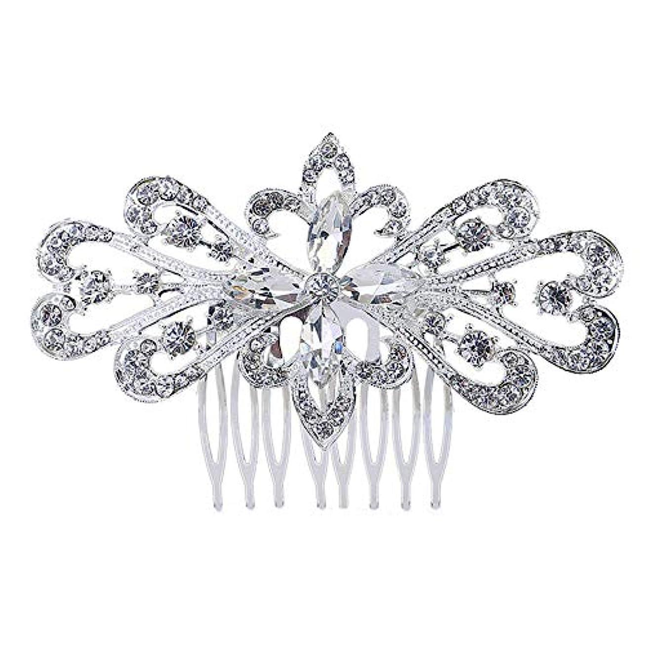 資格月ルーキー髪の櫛の櫛の櫛の花嫁の髪の櫛の花の髪の櫛のラインストーンの挿入物の櫛の合金の帽子の結婚式のアクセサリー