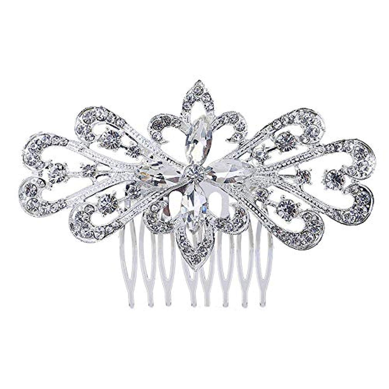 最初にラショナル消える髪の櫛の櫛の櫛の花嫁の髪の櫛の花の髪の櫛のラインストーンの挿入物の櫛の合金の帽子の結婚式のアクセサリー