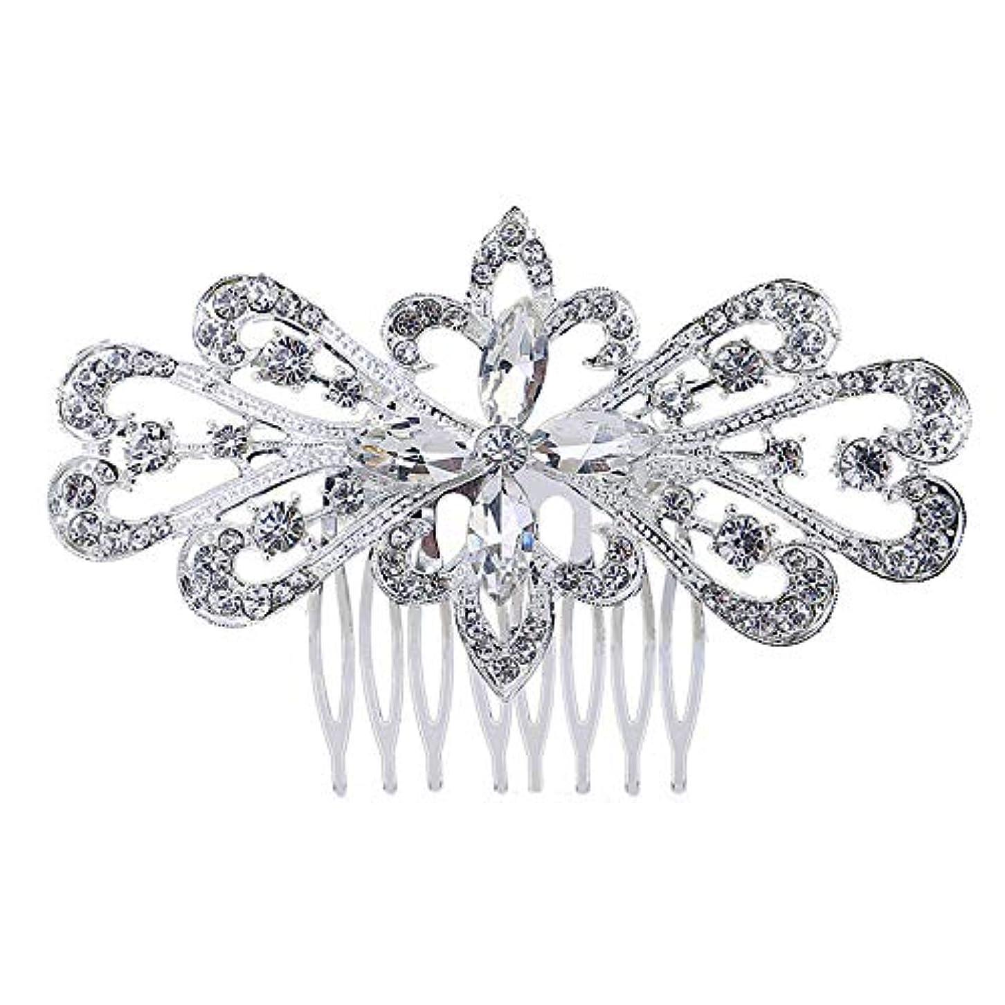 操作ビスケット喉が渇いた髪の櫛の櫛の櫛の花嫁の髪の櫛の花の髪の櫛のラインストーンの挿入物の櫛の合金の帽子の結婚式のアクセサリー