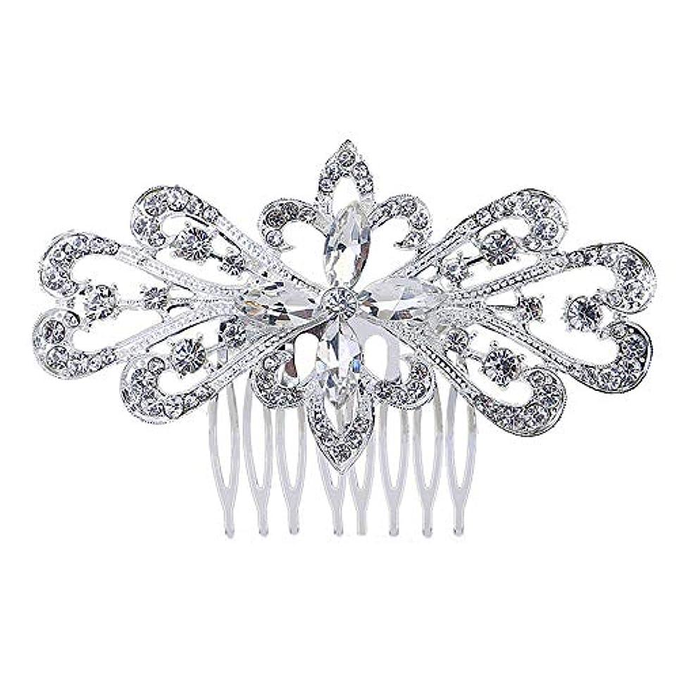 究極のサロンスプリット髪の櫛の櫛の櫛の花嫁の髪の櫛の花の髪の櫛のラインストーンの挿入物の櫛の合金の帽子の結婚式のアクセサリー