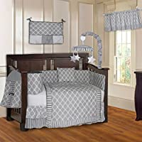 BabyFad Clover Gray 10 Piece Baby Crib Bedding Set [並行輸入品]