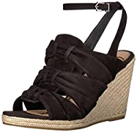 [Sam Edelman] Women's Awan Wedge Sandal, Black Suede, Size 8.0