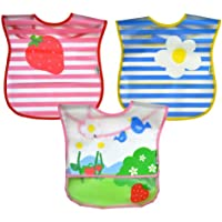 green sprouts Wipe-Off Bib, Pink Garden, 3 Count by green sprouts