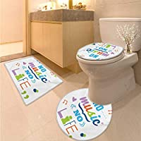 """Quotes トイレマットセット 「Do More of What Makes You Happy Clouds Achievement Attitude Positivity Print Bath Rug Set Black White 16""""x19""""-D28""""-24""""x48"""""""