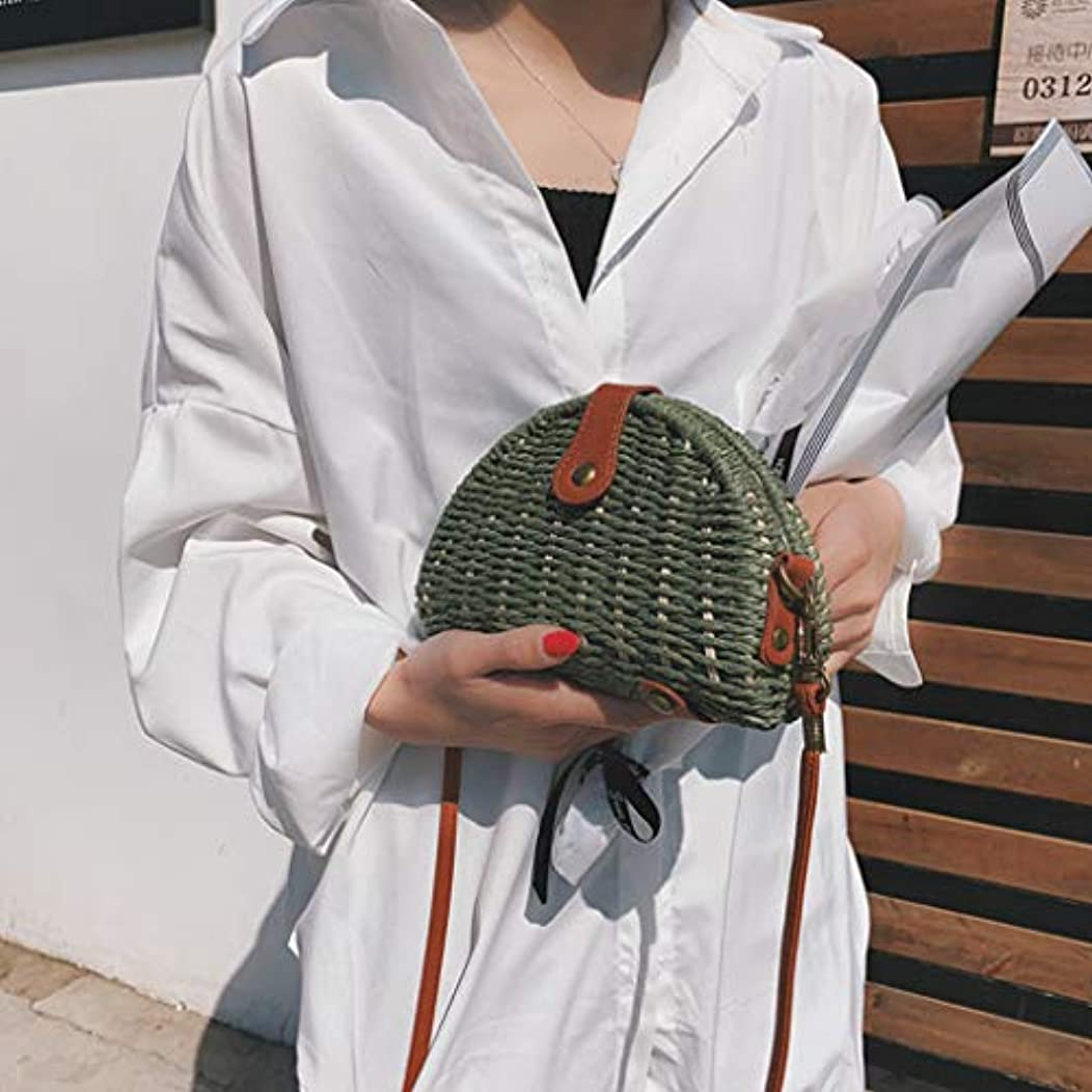 靴ほぼ丘女性ミニ織りビーチショルダーバッグレディースボヘミアンスタイルレジャーハンドバッグ、女性のミニ織クロスボディバッグ、レディースミニファッションビーチスタイルクロスボディバッグ (緑)