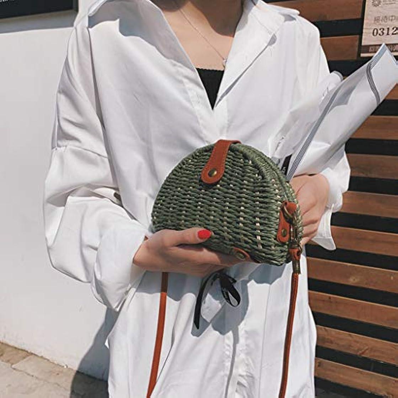 くま火山学者居間女性ミニ織りビーチショルダーバッグレディースボヘミアンスタイルレジャーハンドバッグ、女性のミニ織クロスボディバッグ、レディースミニファッションビーチスタイルクロスボディバッグ (緑)