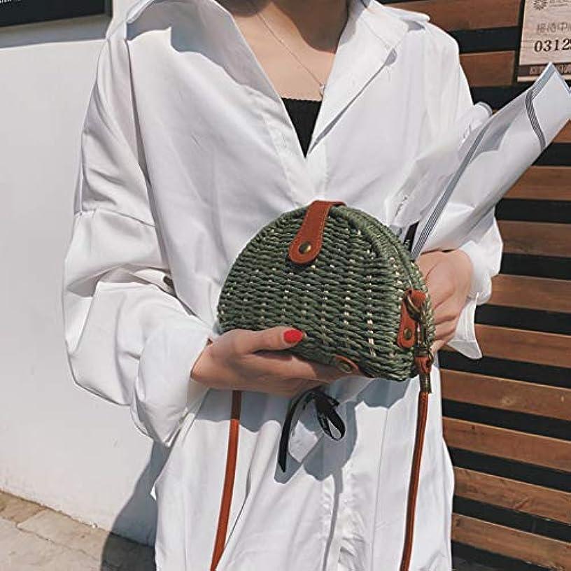未来敵条約女性ミニ織りビーチショルダーバッグレディースボヘミアンスタイルレジャーハンドバッグ、女性のミニ織クロスボディバッグ、レディースミニファッションビーチスタイルクロスボディバッグ (緑)
