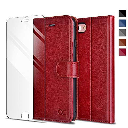 iPhone8 ケース / iPhone7 ケース 手帳型 [強化ガラスフィルム贈り] アイフォン7/8 手帳型ケース カバー 財布型 高級 合皮レザー カード収納 スタンド機能 マグネット式 (レッド)