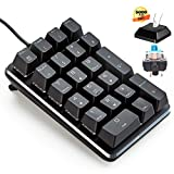 テンキーボード メカニカル式テンキーパッド 青軸 21キーテンキーパッド 5000万回高耐久 USB接続 ブラック Windows Mac 対応
