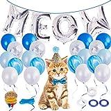 LOCOLO 猫 誕生日パーティー用品 Meow 文字 生分解性ラテックスバルーン 20個 ピンクバルーン 猫 誕生日 調節可能な帽子とリボン バルーンリボン バルーン 水玉 接着剤とバルーンポンプ ブルー