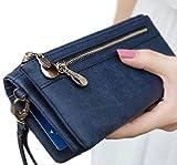 (collin) おしゃれ 大容量 長財布 スマホ 収納 可 レディース 革 財布 レザー スエード タイプ ウォレット (ネイビー)