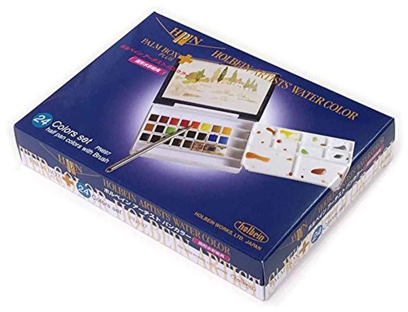 ただやる定義悪のホルベイン 固形水彩絵具 アーチストパンカラー 24色セット 樹脂ケース製 PN697 ハーフパン